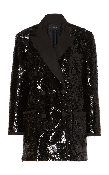 Dundas Sequin Double Breasted Blazer in black