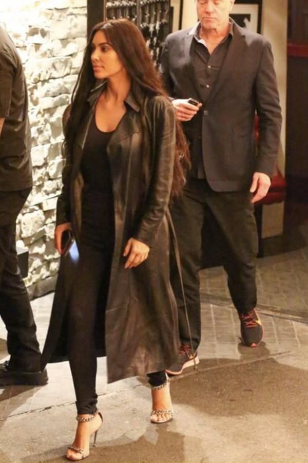coat leather leather coat kim kardashian kardashians all black everything