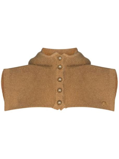 Paco Rabanne wool hooded scarf in brown