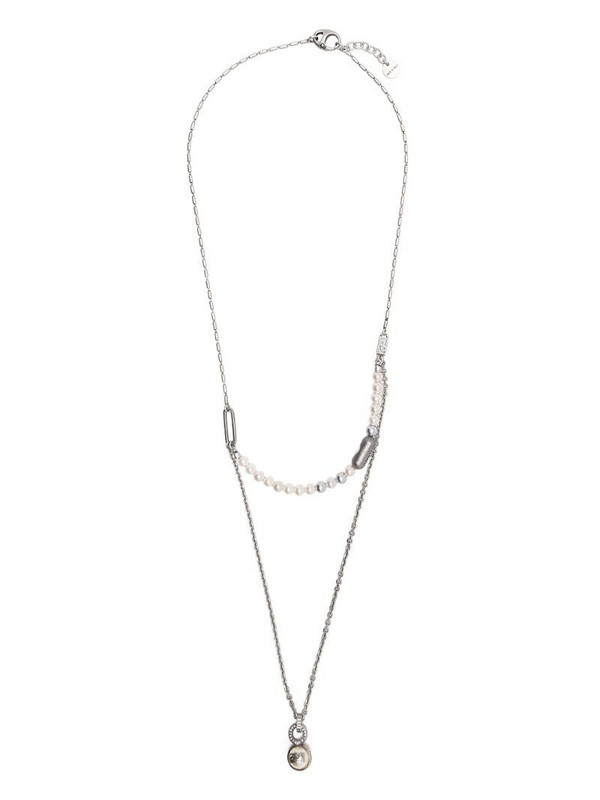 Ports 1961 pearl thin double chain necklace in grey