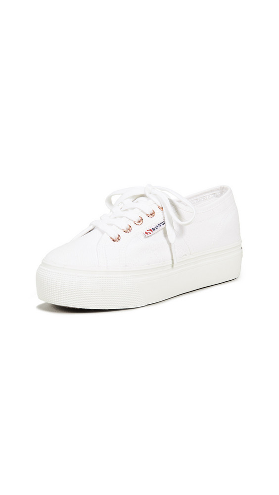 Superga 2790 Linea Up Platform Sneakers in gold / rose / white