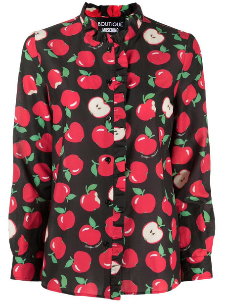 Boutique Moschino apple print shirt in black