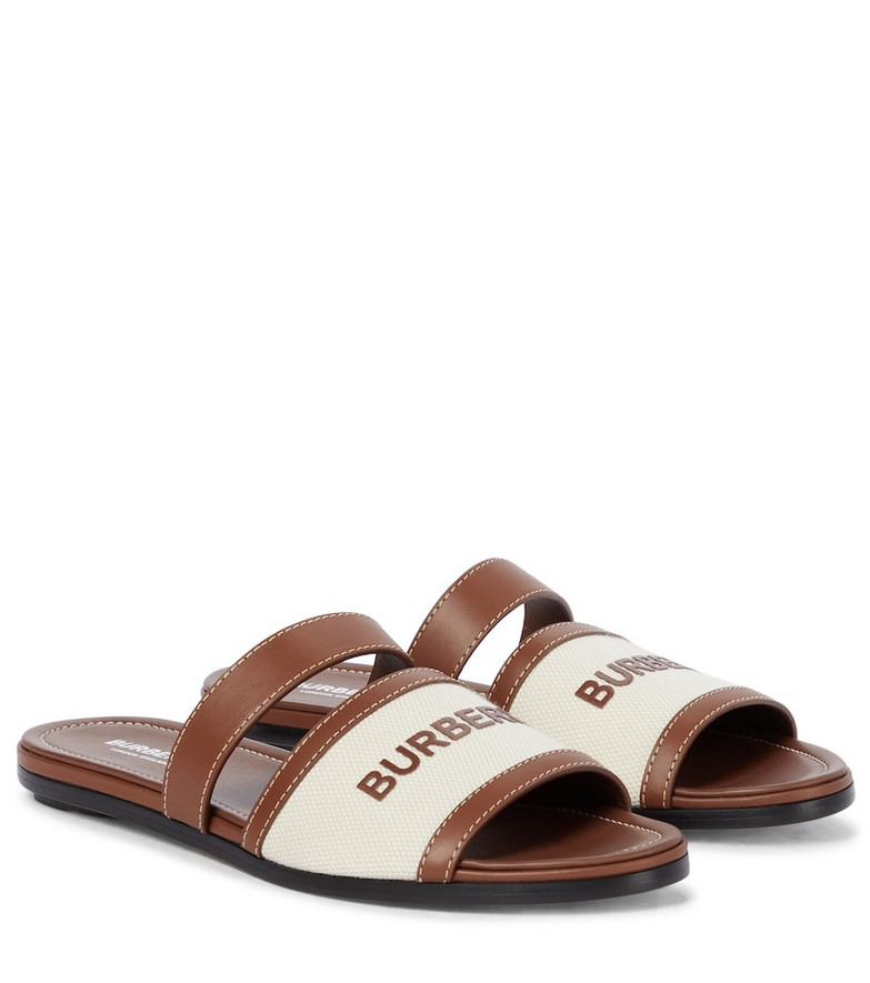 Burberry Logo leather-trimmed sandals in brown