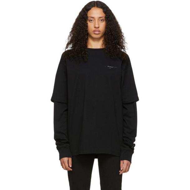 Off-White Black Unfinished Diag Backbone T-Shirt