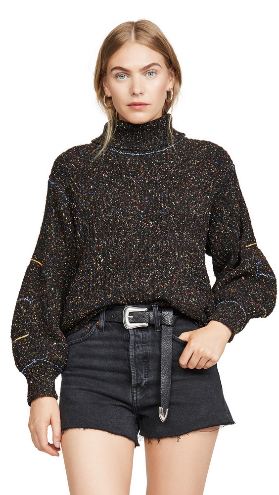 Toga Pulla Tweed Knit High Neck Sweater in black