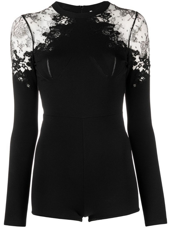 Valentino lace panelled playsuit in black