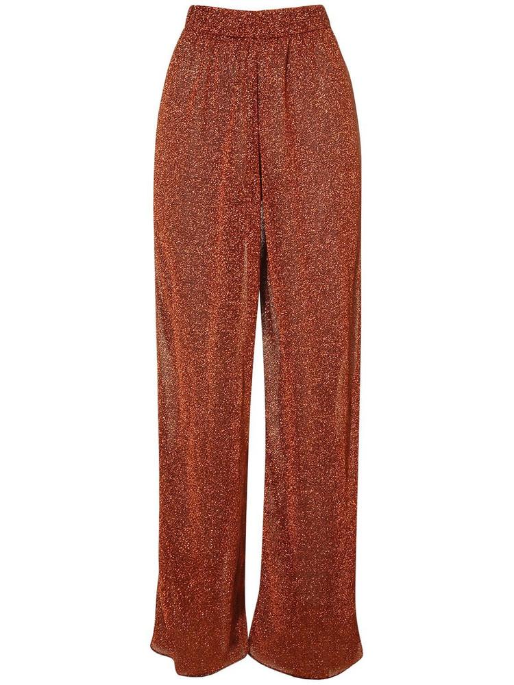 OSÉREE SWIMWEAR Lumière Lurex Straight Leg Pants in brown