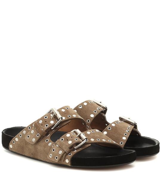 Isabel Marant Lennyo embellished suede sandals in beige