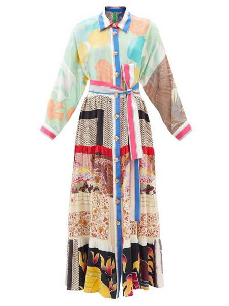 Rianna + Nina Rianna + Nina - Volant Patchwork-silk Maxi Shirt Dress - Womens - Multi