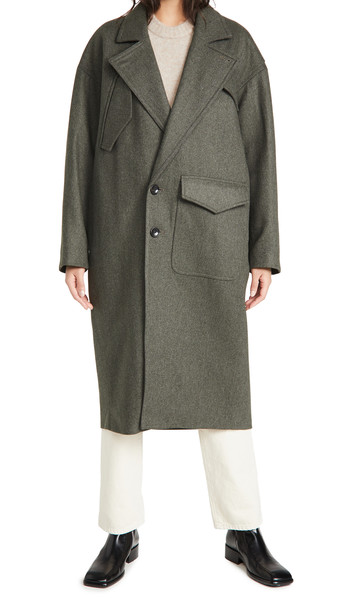 Tibi Cocoon Shape Maxi Coat in grey