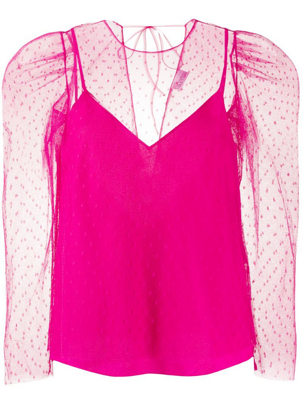 RedValentino point d'esprit layered blouse in pink