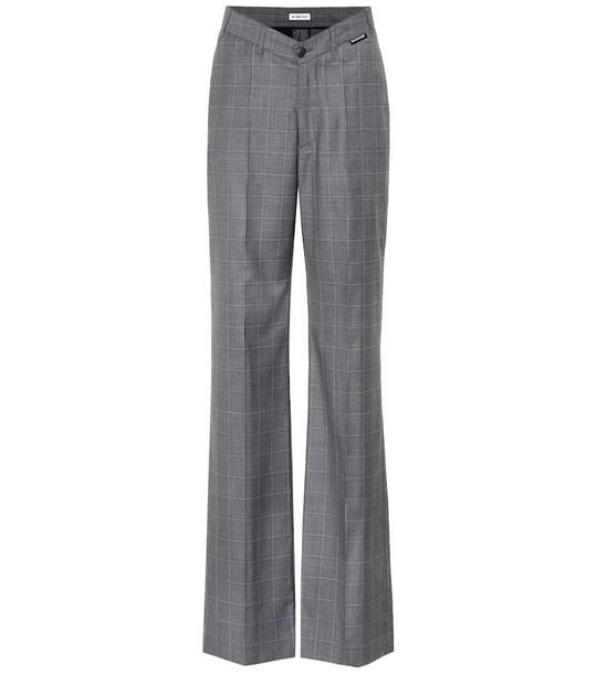 Balenciaga Checked wool and silk pants in grey