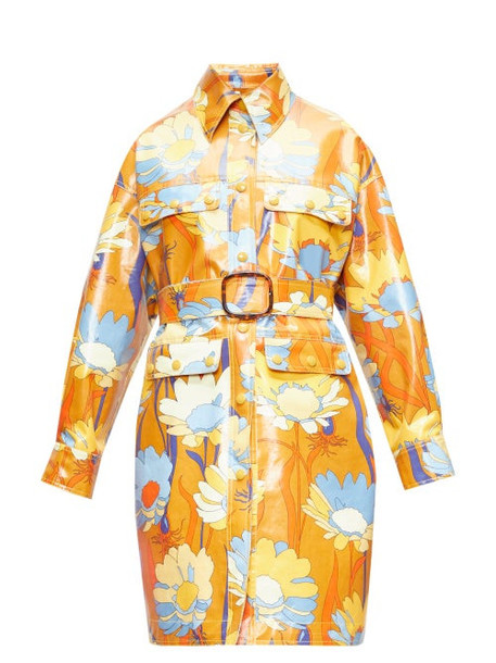 Fendi - Floral-print Coated-cotton Coat - Womens - Brown Multi
