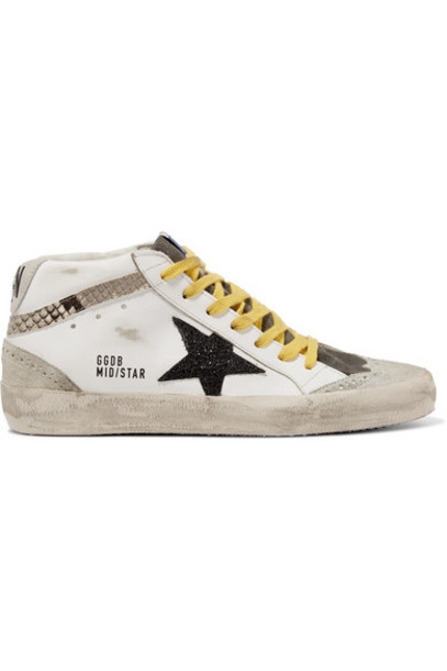 Golden Goose - Mid Star Distressed Glittered And Snake-effect Leather And Suede Sneakers - White