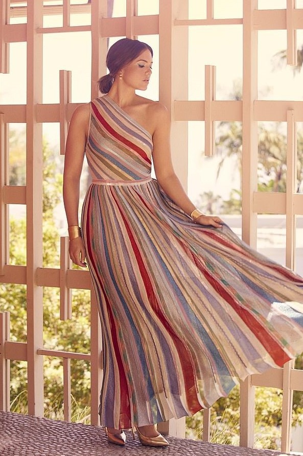 dress striped dress stripes mandy moore celebrity editorial metallic