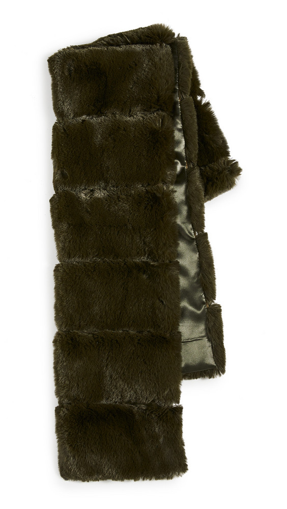 Adrienne Landau Faux Fur Pull Thru Scarf in green
