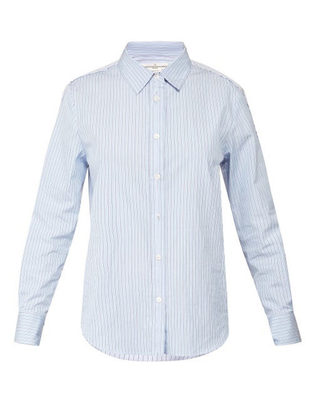 Golden Goose - Deconstructed Striped Poplin Shirt - Womens - Blue