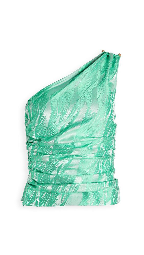 GANNI Jacquard Blouse in green