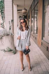 adoredbyalex,blogger,jacket,shorts,shoes,sunglasses,jewels,bag,striped jacket,striped shorts,high heel pumps,spring outfits