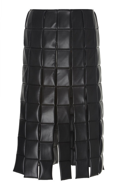 A.W.A.K.E. MODE Multi-Panel And Slits Faux-Leather Quilted Skirt Size: in black