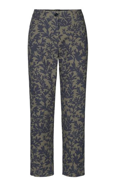 Stine Goya Sira Floral Cotton Straight-Leg Pants in green