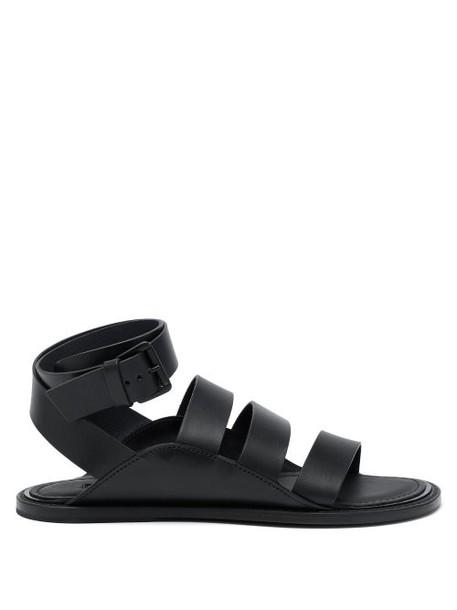 Ann Demeulemeester - Wraparound Leather Strap Sandals - Womens - Black