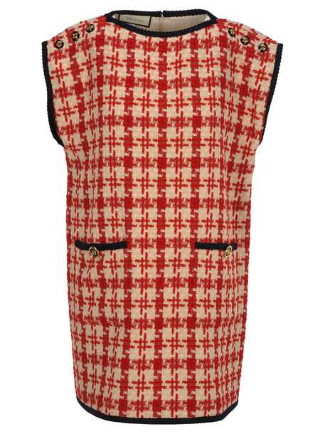 Gucci Tweed Dress in red / white