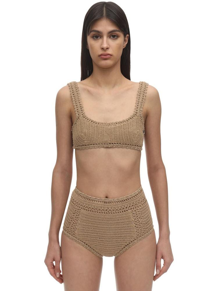 SHE MADE ME Crochet Bikini Top in sand