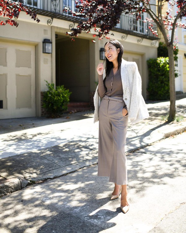 jacket blazer wide-leg pants high waisted pants pumps cardigan
