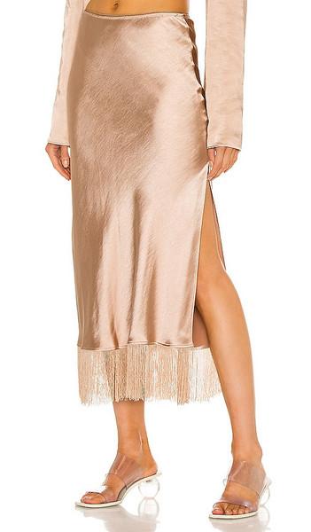 LPA Fringe Skirt in Beige in cream