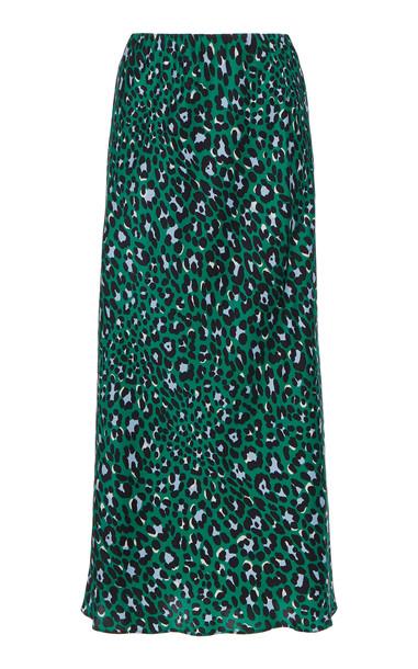 Olivia von Halle Isla High-Waisted Leopard-Print Jersey Midi Skirt