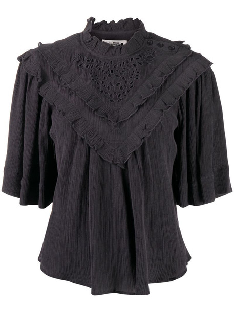 Isabel Marant Étoile ruffle detail t-shirt with broderie anglaise in grey