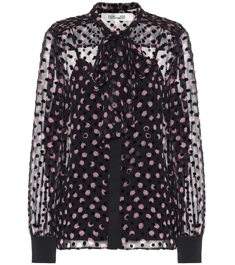Diane von Furstenberg Minnie silk-blend devoré blouse in black