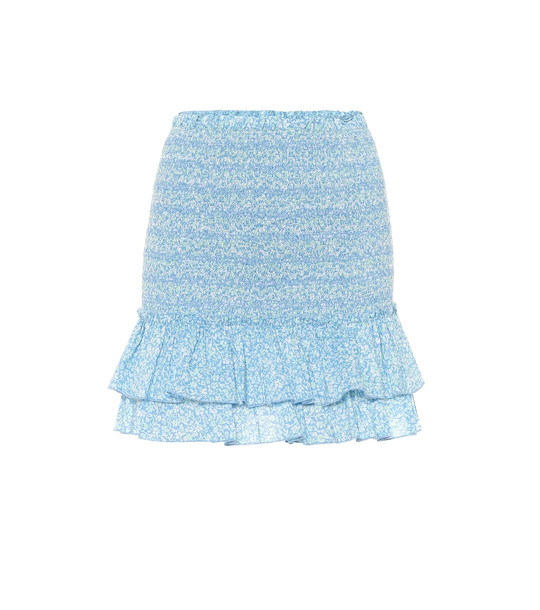 Jonathan Simkhai Floral cotton miniskirt in blue