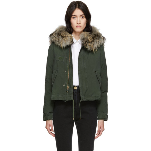 Mr and Mrs Italy Green Down Fur Cropped Jazzy Jacket