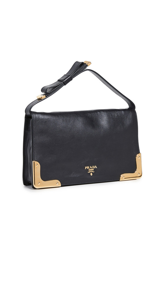 What Goes Around Comes Around Prada Leather Clutch in black