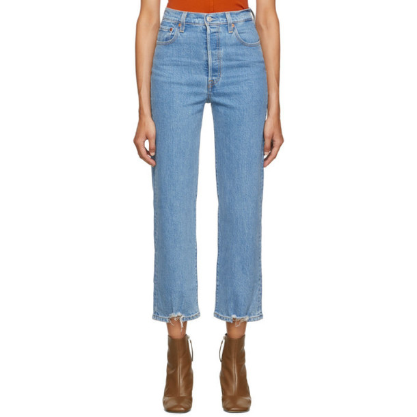 Levis Blue Cutoff Rib Cage Straight Ankle Jeans