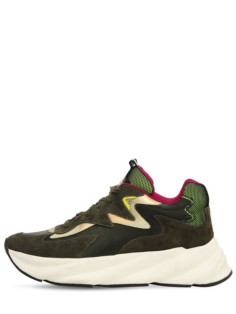 ELENA IACHI 50mm Suede & Leather Sneakers in green