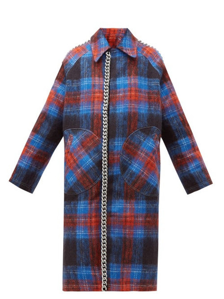 Charles Jeffrey Loverboy - Chain Trim Single Breasted Tartan Wool Coat - Womens - Navy Multi