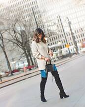 sweater,turtleneck sweater,oversized sweater,knitted sweater,over the knee boots,heel boots,black boots,black bag,pvc,handbag