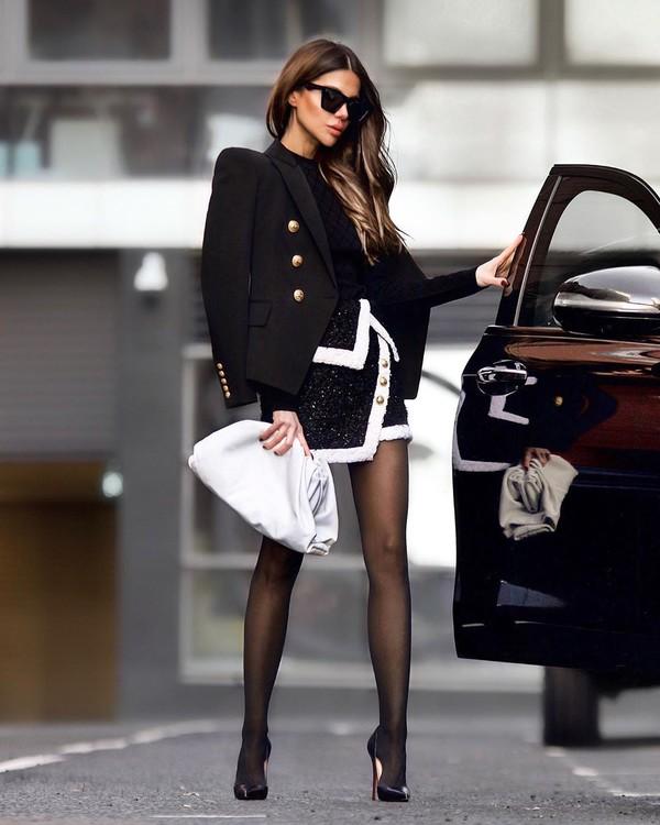 skirt mini skirt pumps white bag tights black top black blazer
