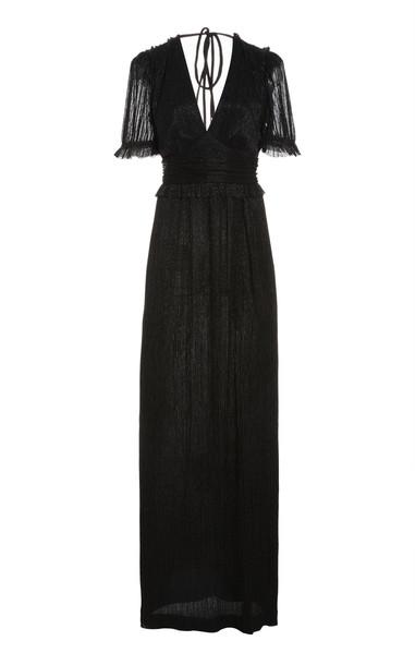 Rebecca Vallance Luna Frilled Lurex Gown in black