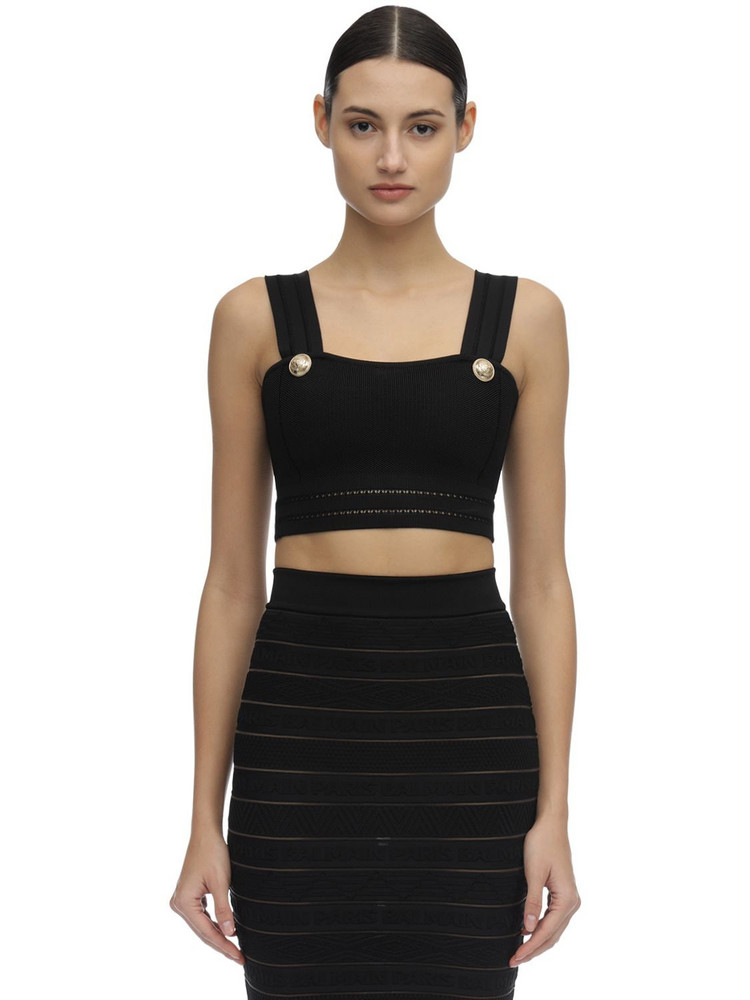BALMAIN Stretch Cotton Blend Knit Crop Top in black
