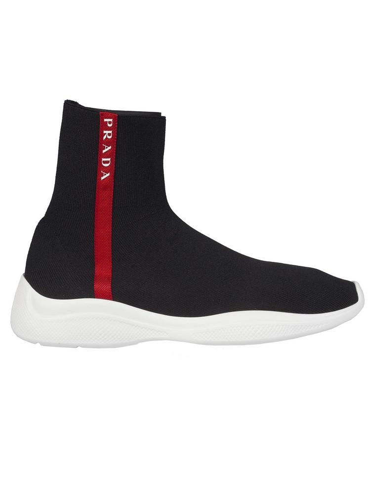 Prada Linea Rossa Sock Hi-top Sneakers in nero / bianco
