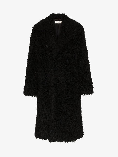 Saint Laurent faux-shearling coat in black