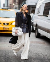 jacket,black blazer,double breasted,ralph lauren,leather,wide-leg pants,white pants,white shoes,pumps,white bag,handbag,black coat,long coat