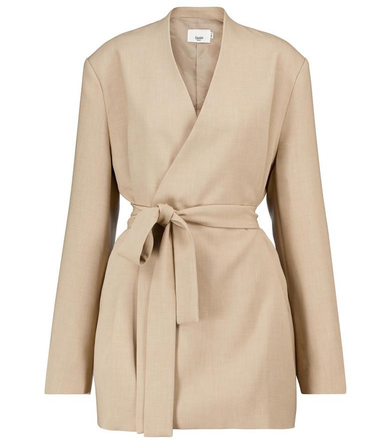 Frankie Shop Belted longline blazer in beige