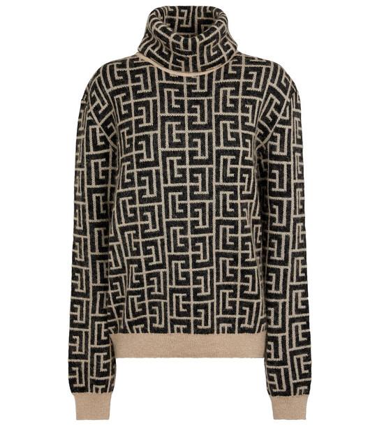 Balmain Monogram wool and mohair-blend sweater in black