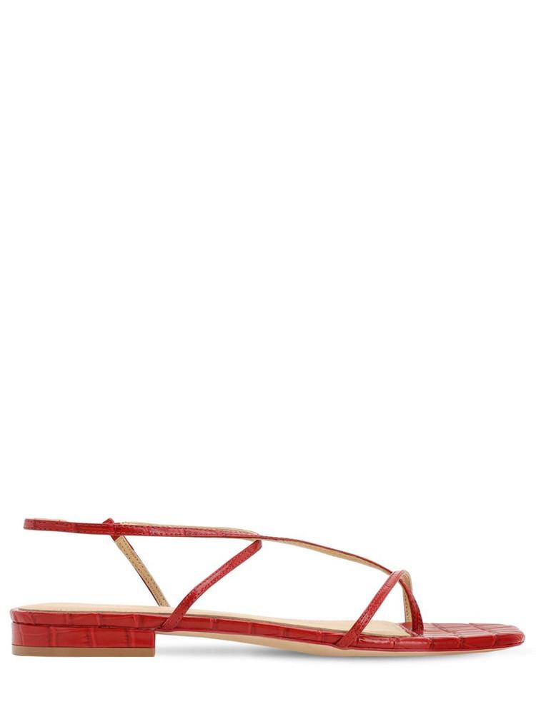 STUDIO AMELIA 10mm Croc Embossed Leather Sandals in red