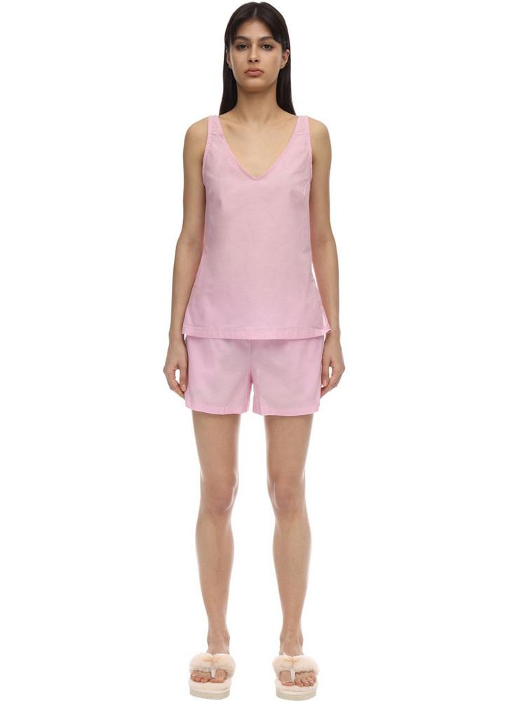 DEREK ROSE Amalfi Batiste Cotton Camisole Set in pink